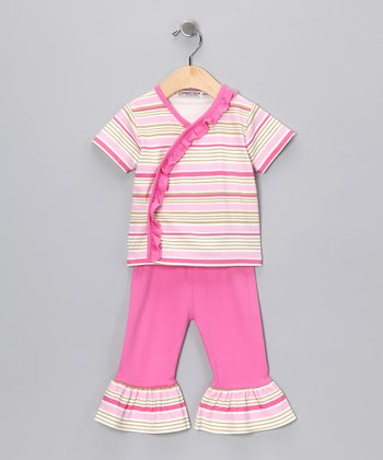 Sweet Cottons Pink & Cream Stripe Wrap Top & Ruffle Pants - Infant