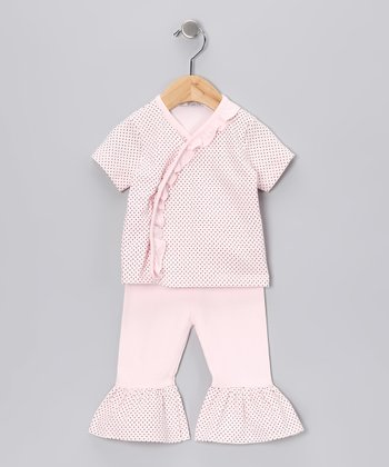 Sweet Cottons Pink & Brown Polka Dot Wrap Top & Ruffle Pants - Infant