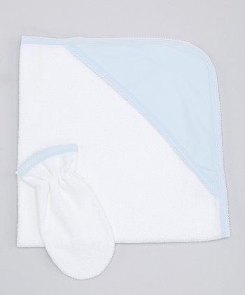 Sweet Cottons White & Blue Hooded Towel & Hand Mitt