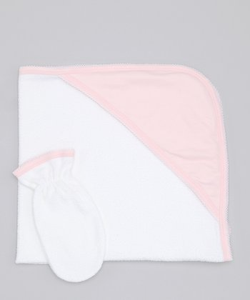 Sweet Cottons White & Pink Hooded Towel & Hand Mitt