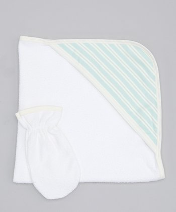 Sweet Cottons Blue & Cream Stripe Hooded Towel & Hand Mitt