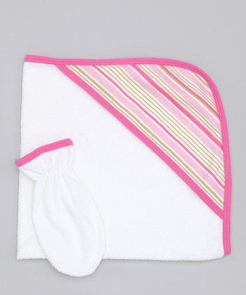 Sweet Cottons Pink & Cream Stripe Hooded Towel & Hand Mitt