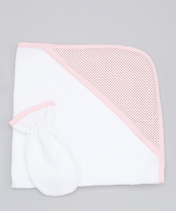 Sweet Cottons Pink & Brown Polka Dot Hooded Towel & Hand Mitt