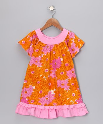 Orange & Pink Floral Ruffle Swing Dress - Toddler & Girls