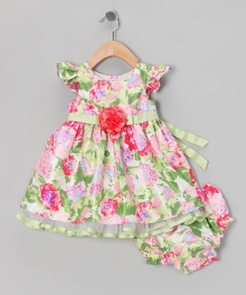 Green & Pink Garden Dress & Diaper Cover - Infant