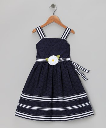 Navy Eyelet Dress - Infant