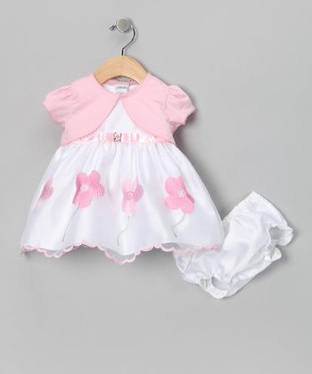 White & Pink Daisy Dress Set - Infant