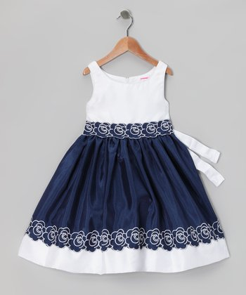 Navy & White Flower Dress - Infant