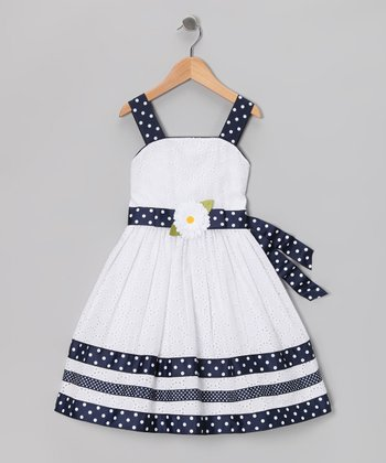 White & Navy Eyelet Dress - Girls Plus