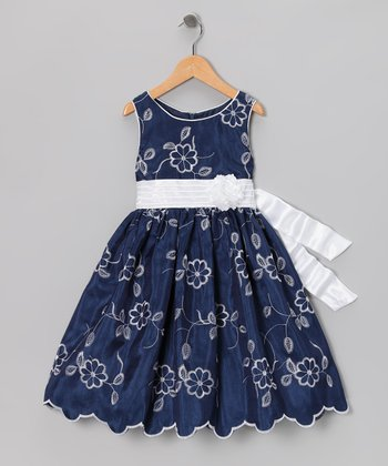 Navy Embroidered Dress - Girls Plus
