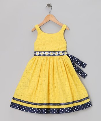 Yellow & Navy Eyelet Daisy Dress - Infant