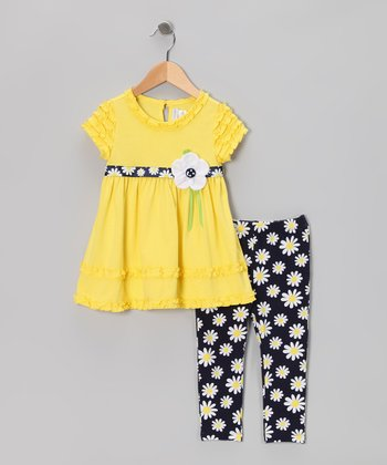 Yellow Daisy Dress & Polka Dot Leggings - Toddler & Girls