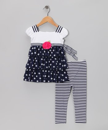 Black & White Polka Dot Dress & Stripe Leggings - Toddler & Girls