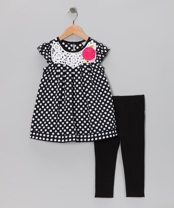 Black & White Polka Dot Dress & Leggings - Toddler & Girls