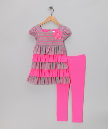 Pink Tiered Dress & Leggings - Toddler & Girls