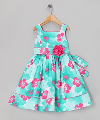 Blue & Pink Floral Dress - Girls' Plus
