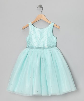 Aqua Rhinestone Dress - Girls