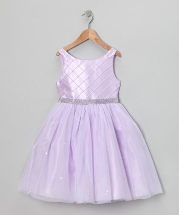 Lilac Rhinestone Dress - Girls