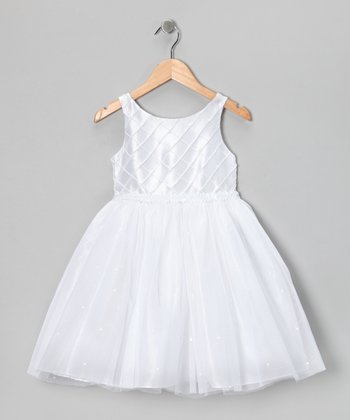 White Rhinestone Dress - Girls