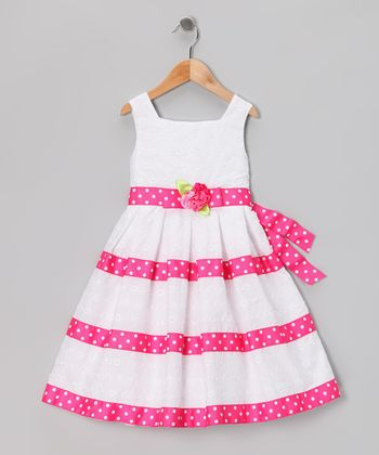 White & Pink Eyelet Dress - Girls Plus