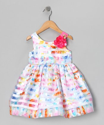 Rainbow Stripe Rose Dress - Toddler & Girls