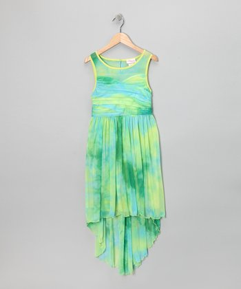 Teal Tie-Dye Hi-Low Dress - Girls