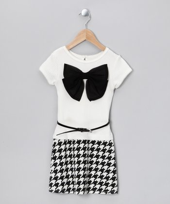 Black & White Bow Dress - Toddler & Girls