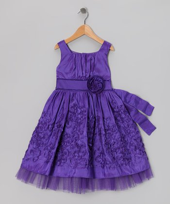 Purple Rosette Occasion Dress - Toddler & Girls
