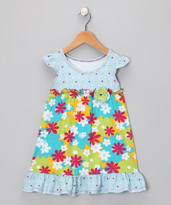 Light Blue & Teal Jamie Dress - Infant, Toddler & Girls