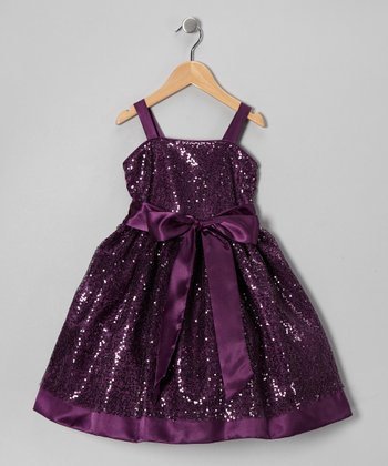 Plum Glitter Party Dress - Girls
