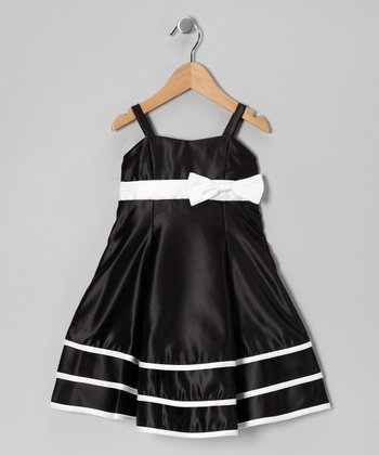 Black Bow Satin Ruffle Dress - Girls
