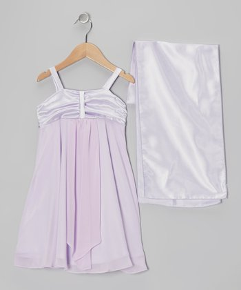 Lilac Charmeuse & Chiffon Dress & Shawl - Girls