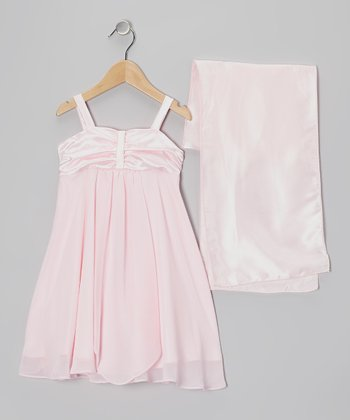 Pink Charmeuse & Chiffon Dress & Shawl - Girls