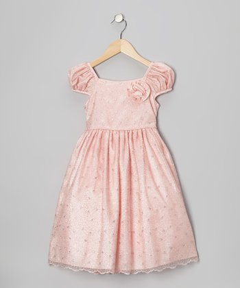 Pink Metallic Mesh Dress - Girls