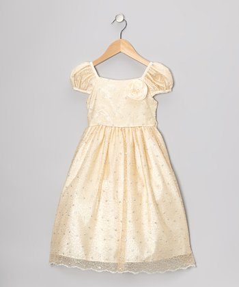 Champagne Metallic Mesh Dress - Toddler & Girls
