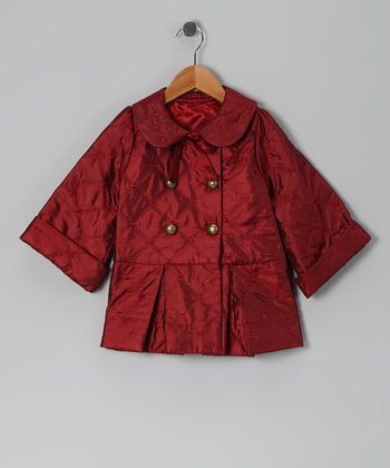 Burgundy Quilted Coat - Toddler & Girls