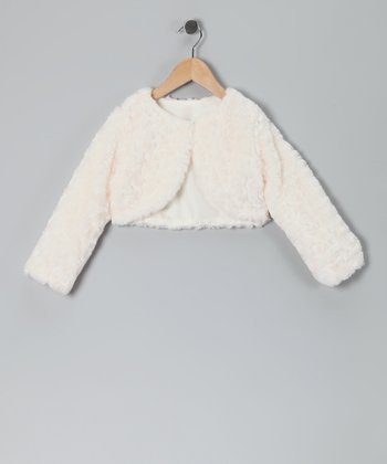Ivory Faux Fur Rose Bolero - Infant