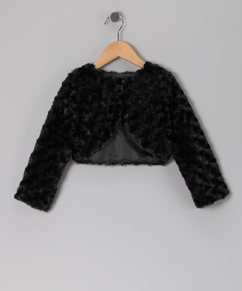 Black Faux Fur Rose Bolero - Infant & Girls