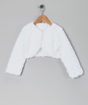 White Faux Fur Rose Bolero - Infant & Girls
