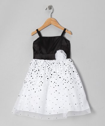 Black & White Glitter Taffeta Dress - Girls