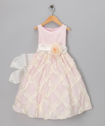 Light Pink Lattice Taffeta Dress - Toddler & Girls