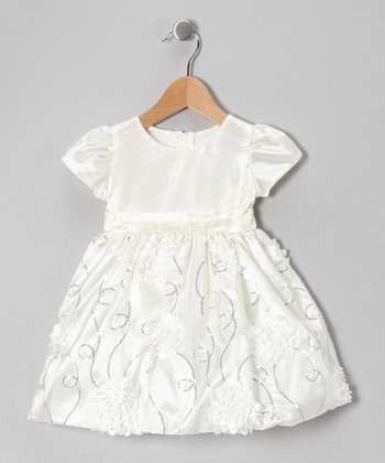 Off-White Floral Taffeta Dress - Infant, Toddler & Girls