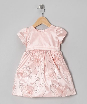 Pink Floral Taffeta Dress - Infant