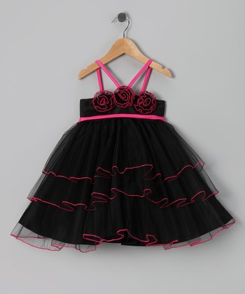 Black & Fuchsia Tiered Overlay Dress - Toddler & Girls
