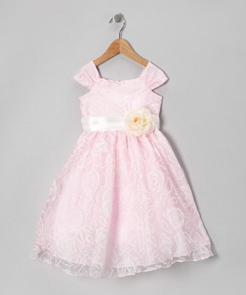 Pink Rose Swirl Organza Dress - Infant, Toddler & Girls