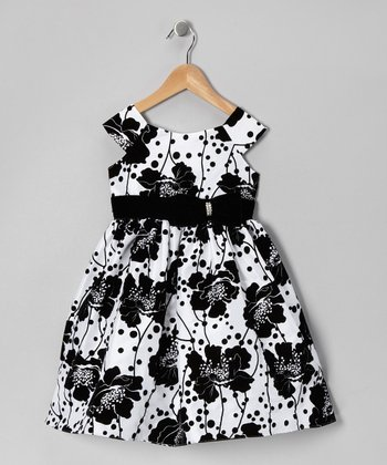 Black & White Floral Taffeta Dress - Toddler & Girls