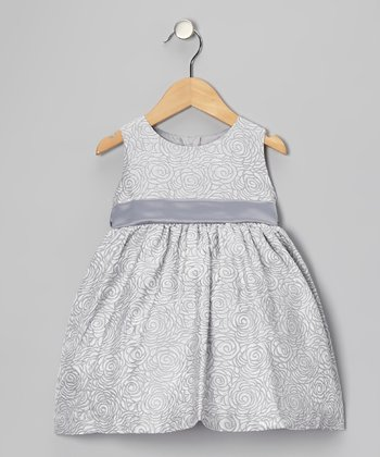 Gray Rose Jacquard Dress - Infant, Toddler & Girls