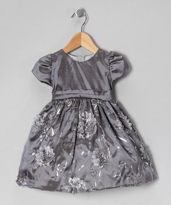Gray Floral Taffeta Dress - Infant