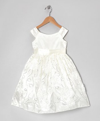 Off-White Floral Taffeta Dress - Toddler & Girls