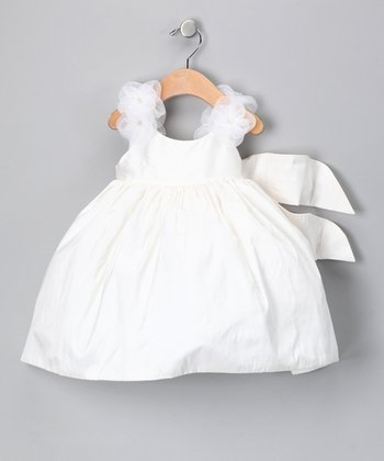 White Rosette Silk Dress - Girls